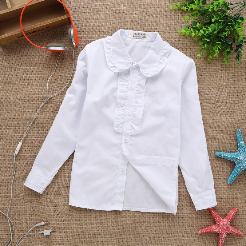 2017 new summer spring lace cotton solid White baby kids girls Blouse white shirts with long sleeves for children girls pink lace up design cold shoulder long sleeves t shirts