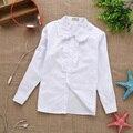 2017 nueva primavera verano de encaje Blanco sólido algodón del bebé niños niñas Blusa blanca camisas de manga larga para niños niñas