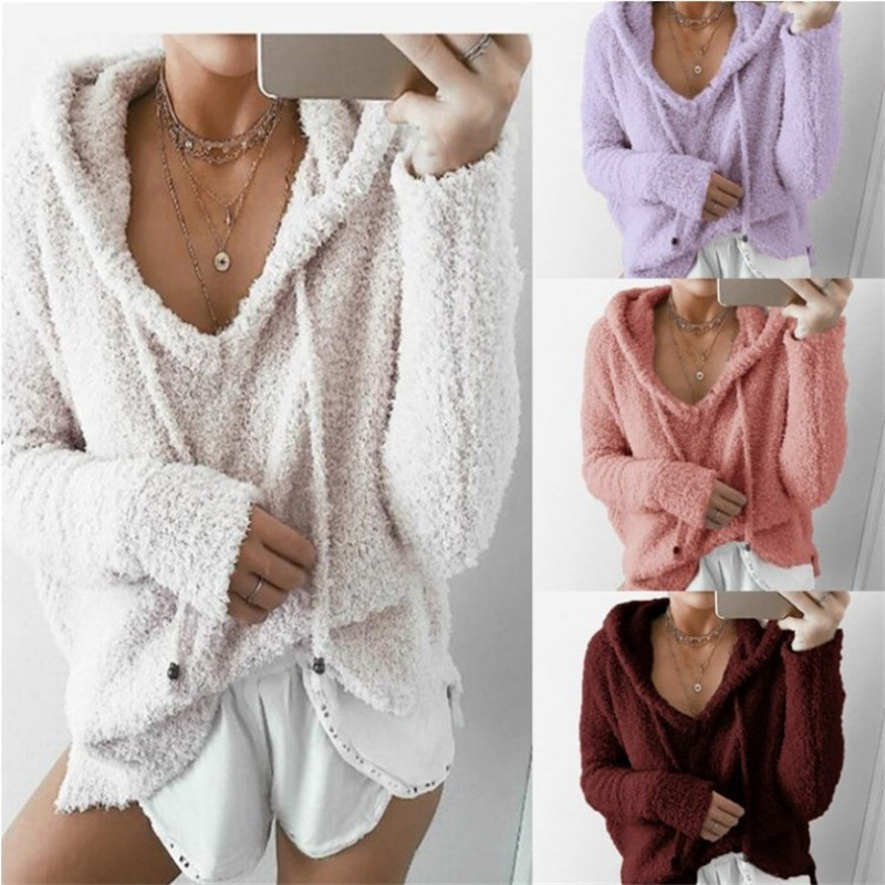 S-5XL Autumn Top Women Casual Mohair Hooded Pullovers V Neck Fleece Fashion Sweet Loose Warm Winter Mohair Tops Pullover