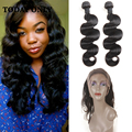 Malaysian Virgin Hair with Closure Body Wave with Frontal Closure 360 Lace Frontal with Bundle with Baby Hair 360 Bundle Closure