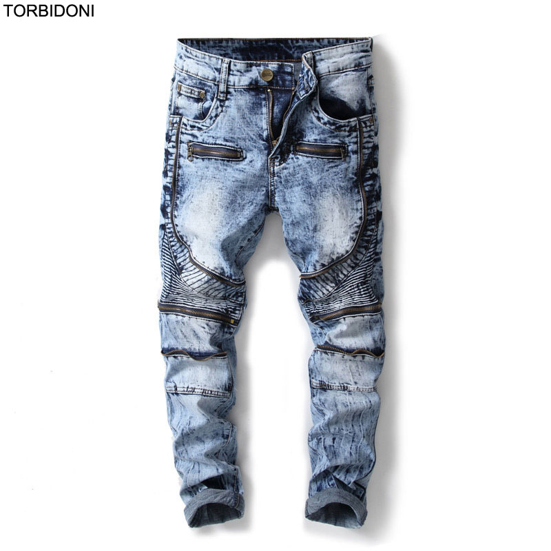 Patchwork Denim Jeans Men Slim Fit Little Stretch New Hip Hop Men Zipper Knees Pockets Jean Pencil Pants Casual Pleated Jeans