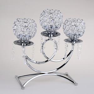 Image 5 - Kristal Metal dilek mumluğu 3 kollu mumluk masa Centerpieces düğün dekor ev el sanatları Tealight mumluklar