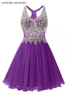 A Line Chiffon Tulle Short Cocktail Party Dress With Crystal