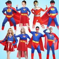 High Quality Children Muscle Superman Costume Clothes Halloween Cosplay Party Parent Children Match Superwoman Suits Belt