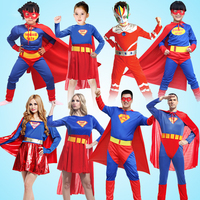 High Quality Children Muscle Superman Costume Clothes Halloween Cosplay Party Parent Children Match Superwoman Suits Belt