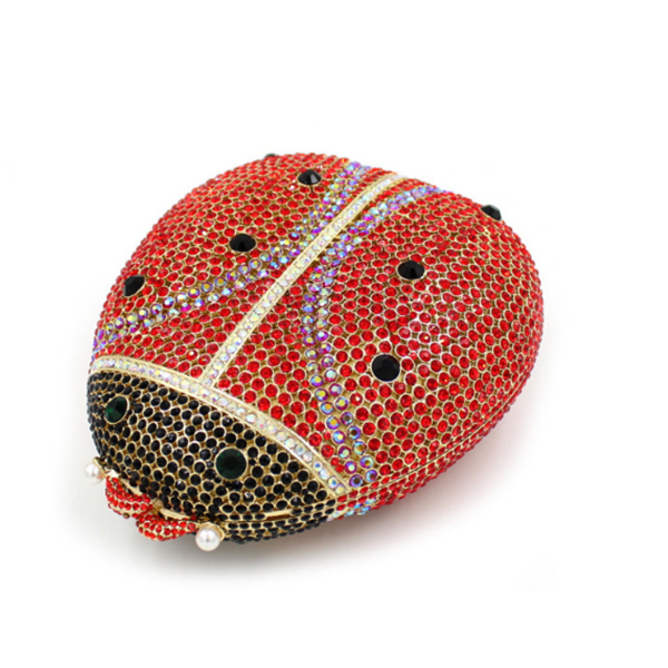 Beetle shape red Clutch Bags Beaded Pearls Evening Bag Colorful Rhinestone Women Evening Handbag Night Club Clutchs shoulder bag rastar 28500 hummer h2