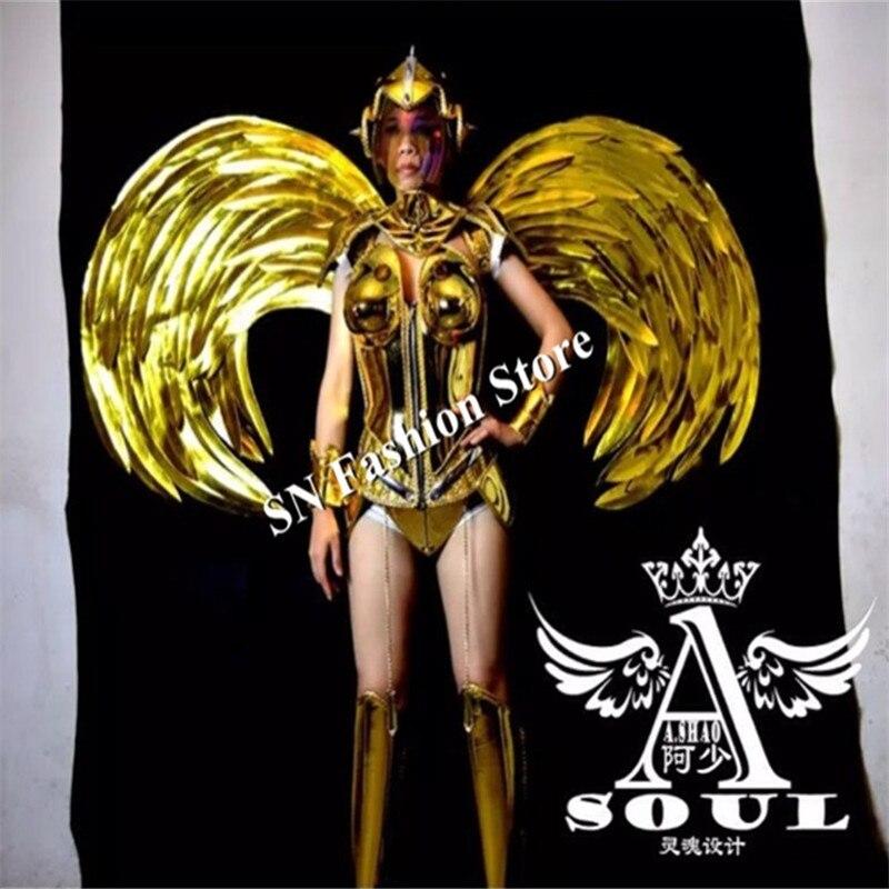 ES001-1 kuldne peegli kostüümid / võidusõidu tiivad riietus / - Pühad ja peod - Foto 4