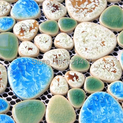 modrá zelená zahrada nádvoří keramický porcelán mozaika backsplash HMCM1011 oblázková kuchyně zeď dlaždice nálepka koupelna podlahové dlaždice
