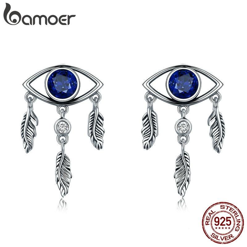 BAMOER New Trendy 100% 925 Sterling Silver Guarding Blue Eyes Feathers Stud  Earrings for Women Sterling Silver Jewelry SCE391