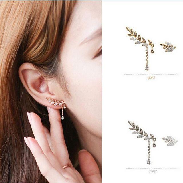 1 Pair Asymmetric Ear Row Clip Earrings Without Piercing Leaves No Pierced Ears Earring Fashion