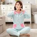 2016 nova outono inverno flanela camisola de manga comprida feminina corações Imprimir Pijamas Ternos Mulheres macio Quente conjuntos de Pijama Sleepwear