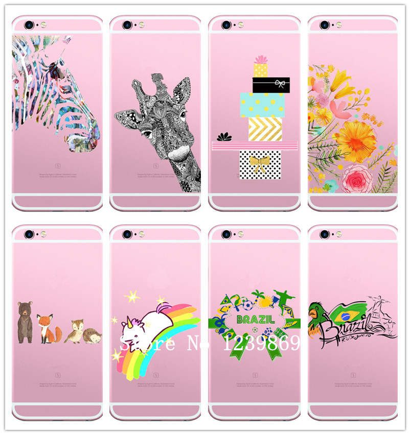 Fashion Dress Flower Cases For Iphone 5 5c 5s 6 6s/6s 7 7plus Phone Case Soft TPU Silicon Capa Funda Animals Shell Cover Bags