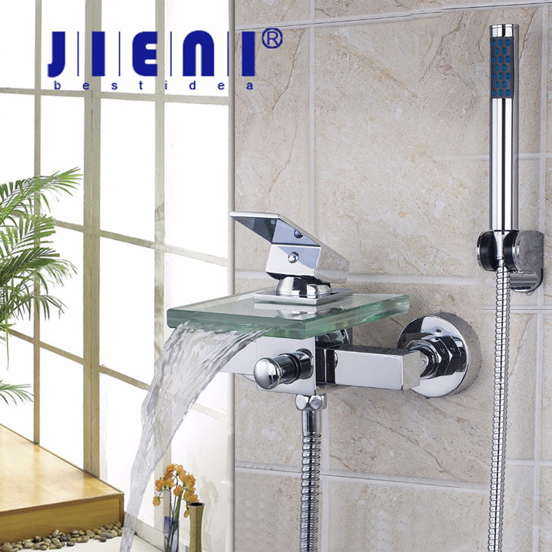 JIENI Shower Faucets Square Wall Mounted Waterfall Glass Spout Bathroom Bath Handheld Shower Set Tap Mixer