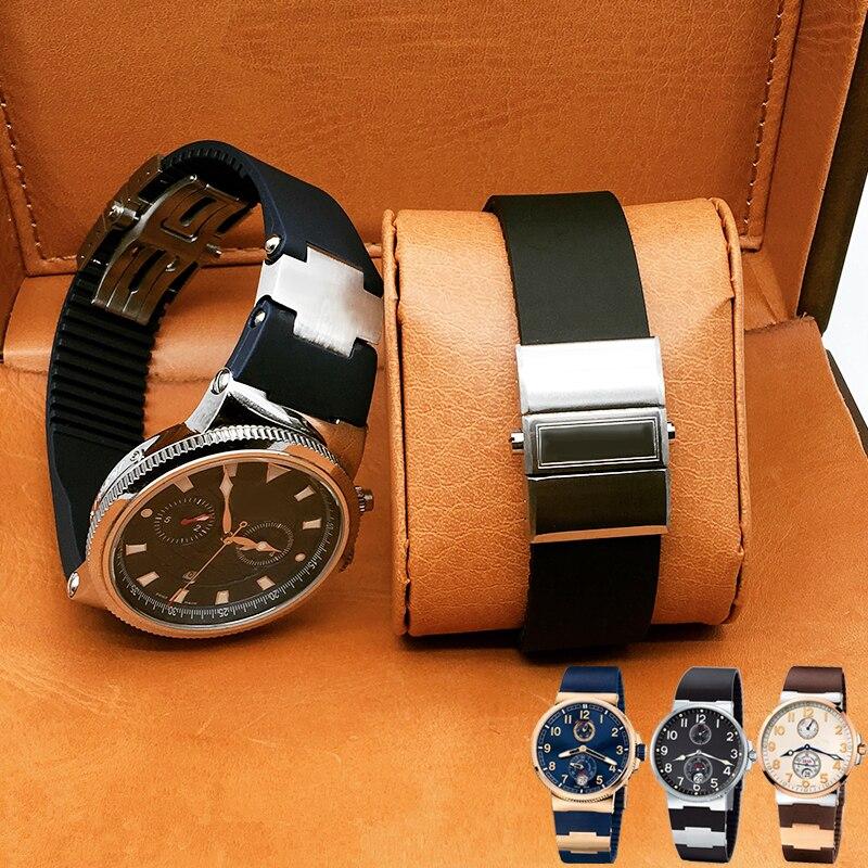 TJP Marques 25x12 Bleu Noir Marron Imperméable Bracelets de Caoutchouc Pliable En Acier Inoxydable Boucle Bracelet De Montre Pour Ulysse MARINE nardin