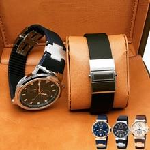 TJP Brands 25×12 Blue Black Brown Waterproof Rubber Watchbands Stainless Steel Fold Buckle Watch Strap For Ulysse MARINE Nardin