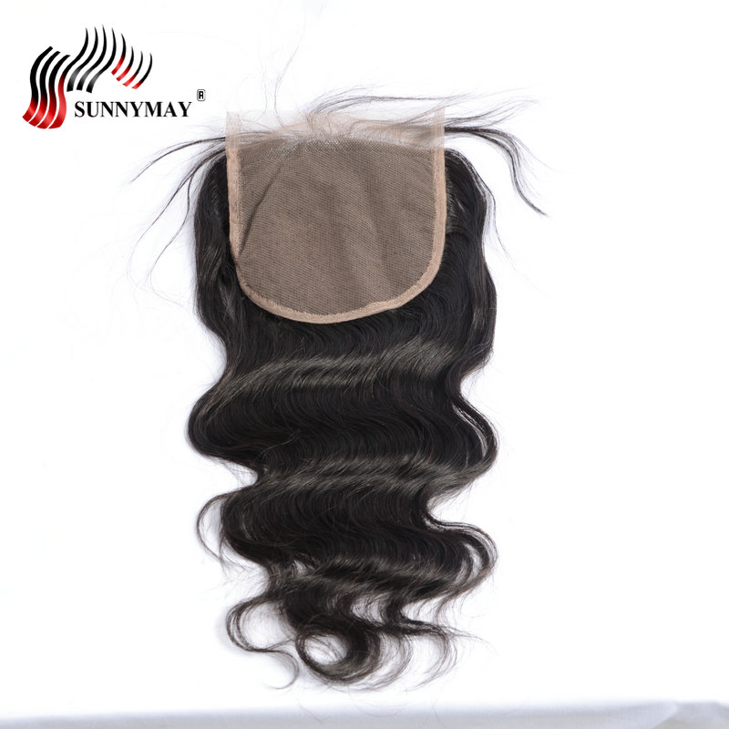 Sunnymay 5x5 Cierre de encaje onda del cuerpo pelo virgen brasileño nudos blanqueados con cierre de cabello humano de bebé en stock-in Cierres from Extensiones de cabello y pelucas on AliExpress - 11.11_Double 11_Singles' Day 1