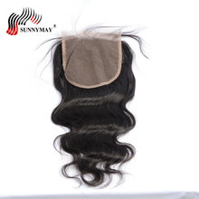 цена на Sunnymay 5x5 Lace Closure Body Wave Brazilian Virgin Hair Bleached Knots With Baby Hair Human Hair Closure In Stock