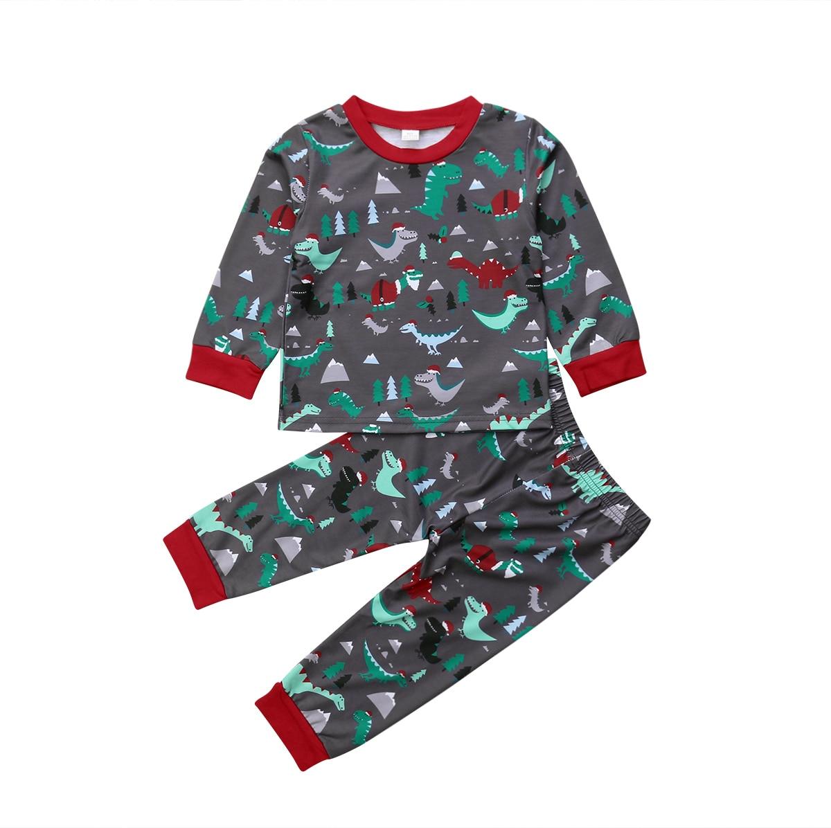 Kids Baby Girl Boy Christmas Dinosaur Tops T shirt Pants Leggings Outfit Clothes   Pajamas     Set