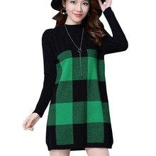 2018 модные осенне-зимние свитера платье с длинным рукавом толстые вязаные платья лоскутное решетки плюс размер 3XL пуловеры w548