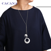 CACANA Necklace Fashion Classic Round Pendant Necklaces 2 Colors Women Chokers Necklaces Wholesale Jewelry Bijouterie N3(China)