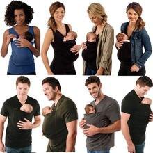 Модная женская и мужская футболка Pudcoco, жилет-кенгуру для мамы, папы, родителей, детские топы, футболки для малышей