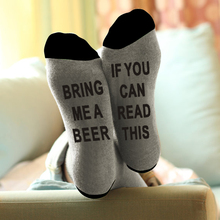 купить If You can read this Bring Me a Glass of Wine/Beer Letter Print Stylish Cotton Socks Female Thermal Warm Christmas Socks по цене 98.33 рублей