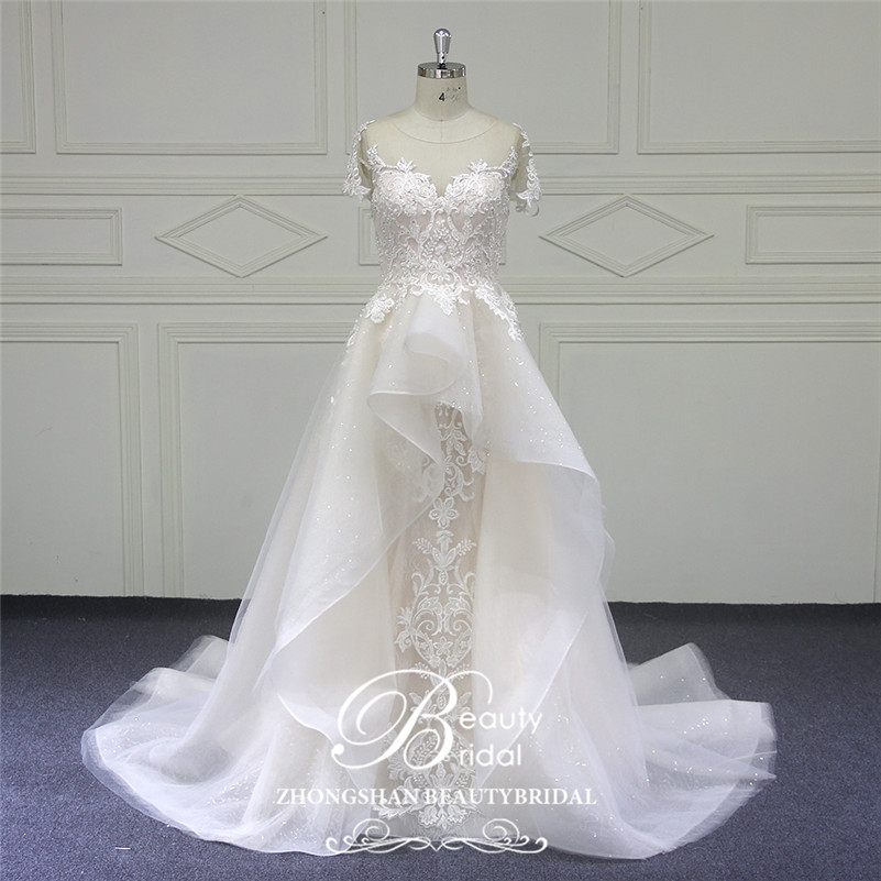 Beautybridal Custom made lace Beads Wedding Dresses round illusion neckline wedding gown short sleeves Vestido de Noiva LS706Wedding Dresses   -