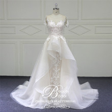 Beautybridal ที่กำหนดเองลูกไม้ลูกปัดชุดรอบ illusion neckline งานแต่งงานชุดแขนสั้น Vestido de Noiva LS706