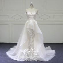 Beautybridal مخصص الخرز الدانتيل فساتين الزفاف جولة الوهم العنق ثوب زفاف بأكمام قصيرة Vestido دي Noiva LS706
