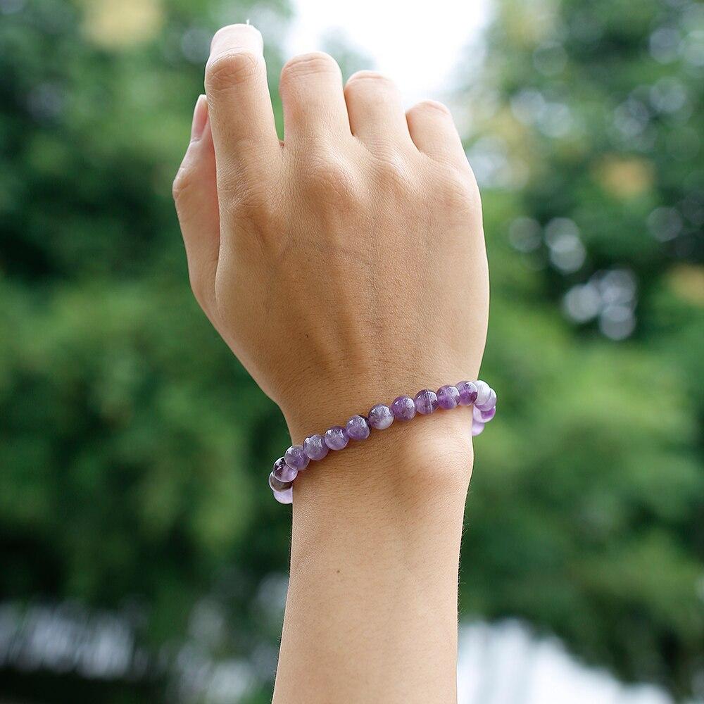 HTB1PSUuc8GE3KVjSZFhq6AkaFXaL Natural Dream Amethysts Quartz Energy Light Purple GemStone Bracelet Women Beaded Stretch Bracelet Energy Gift Jewelry