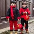 Meninos do bebê Roupas de Inverno 2 pcs Set Crianças Popular Chinesa Traje Do Bebê meninas Conjunto De Pano Roupas Hanfu Tang Terno de Ano Novo Chinês Vermelho