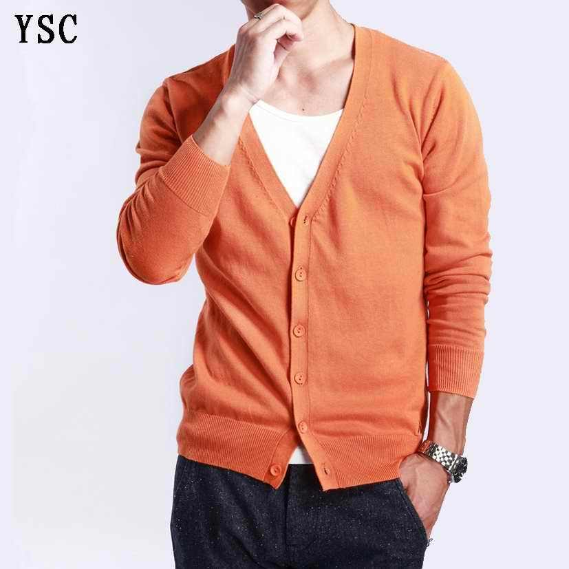 YUNSHUCLOSET 2017 Spring multi-colored V-neck solid color sweater outerwear male cashmere cardigan knitted free shipping