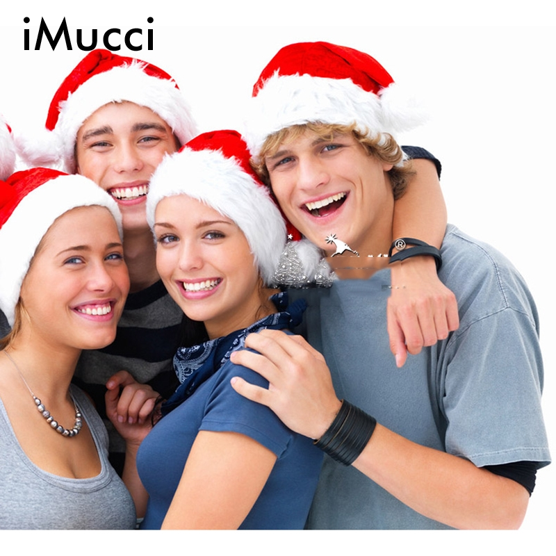 цена на iMucci High Quality Plush Winter Warm Christmas Hat Santa Claus Red Hats New Year Gifts for Men Women Child Snowman Snowflakes