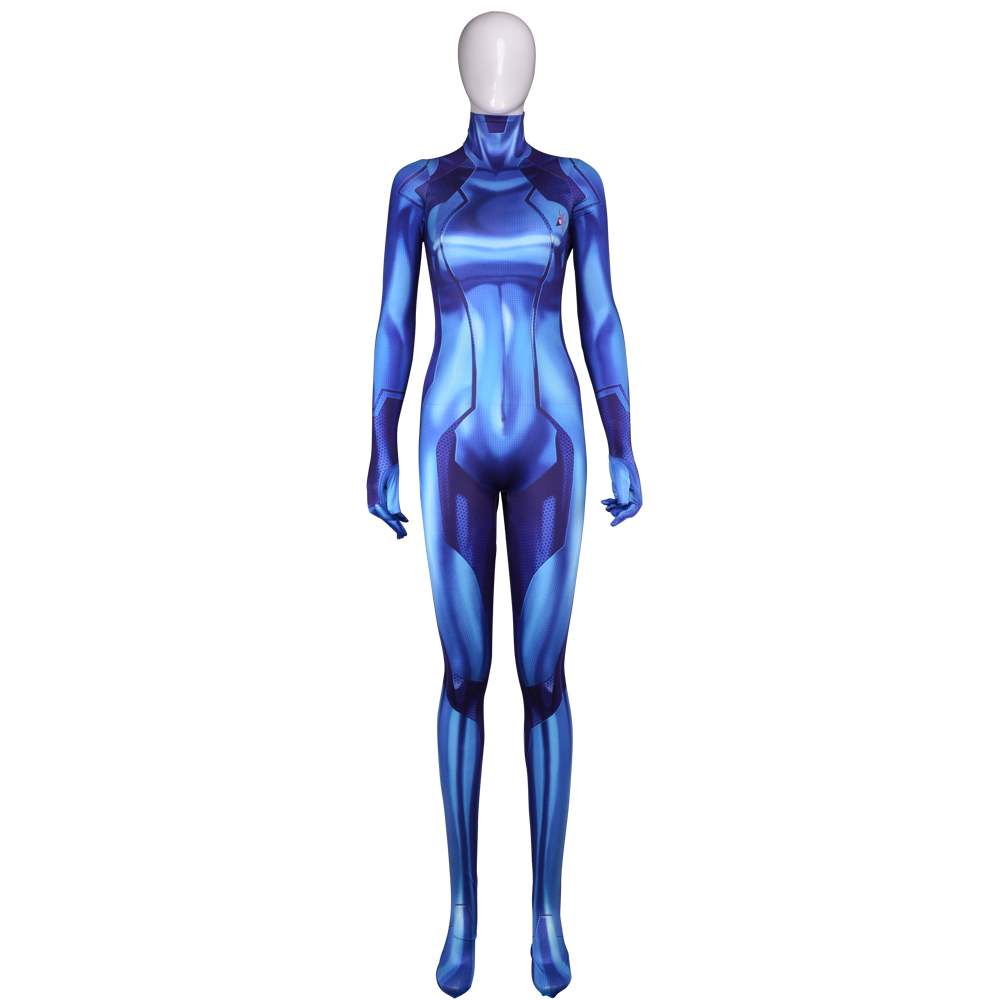 Cosplay Blue Samus Zero Costume Spandex 3D Printing Zentai Catsuit halloween costumes for woman