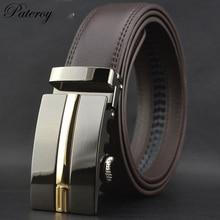 PATEROY Belt Genuine Leather Belt Men Designer Belts Men High Quality S Black Automatic Buckle Novelty Cinto Masculino Luxo