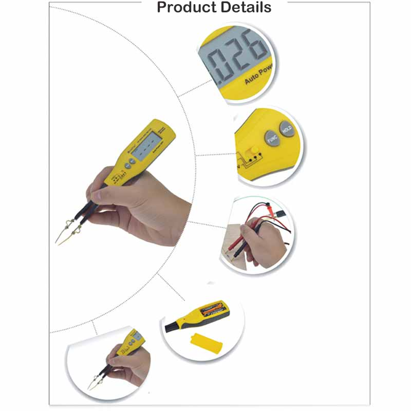 Holdpeak HP-990C SMD Digital Insulation tester Multimeter Auto Power off Resistance Capacitance Power Battery Insulation Tester 3