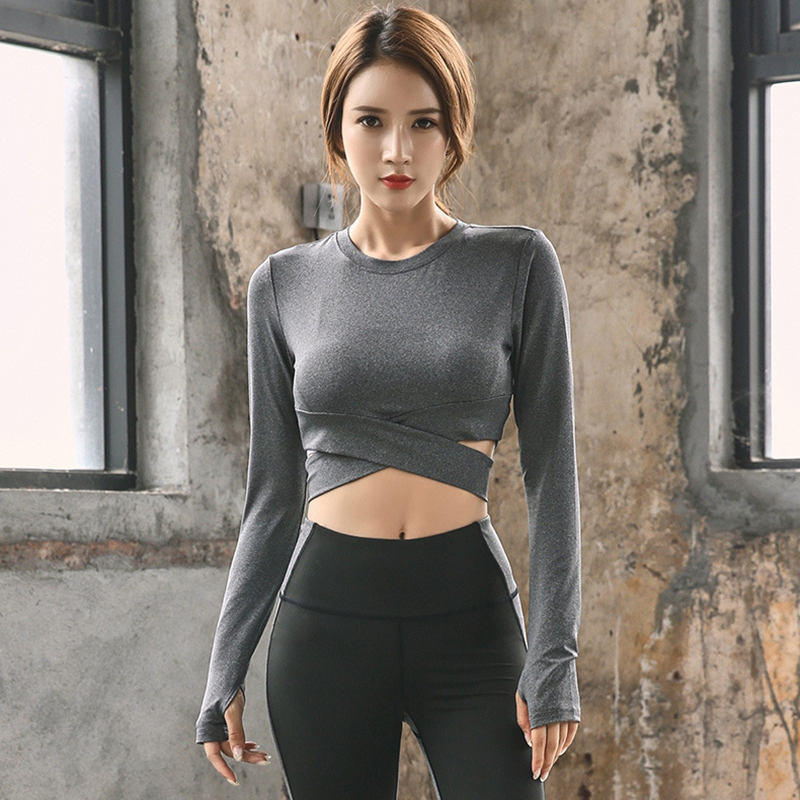 2 Pcs Frauen Yoga Set Langarm Fitness Anzug Crop Top Und Scrunch Butt Leggings Nahtlose Sport Anzug Sportwear Gym Kleidung