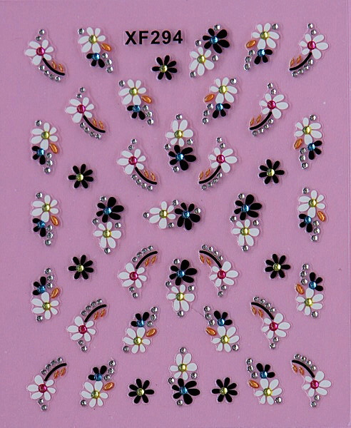 купить black 3D flower design Water Transfer Nails Art Sticker decals lady women manicure tools Nail Wraps Decals XF294 онлайн