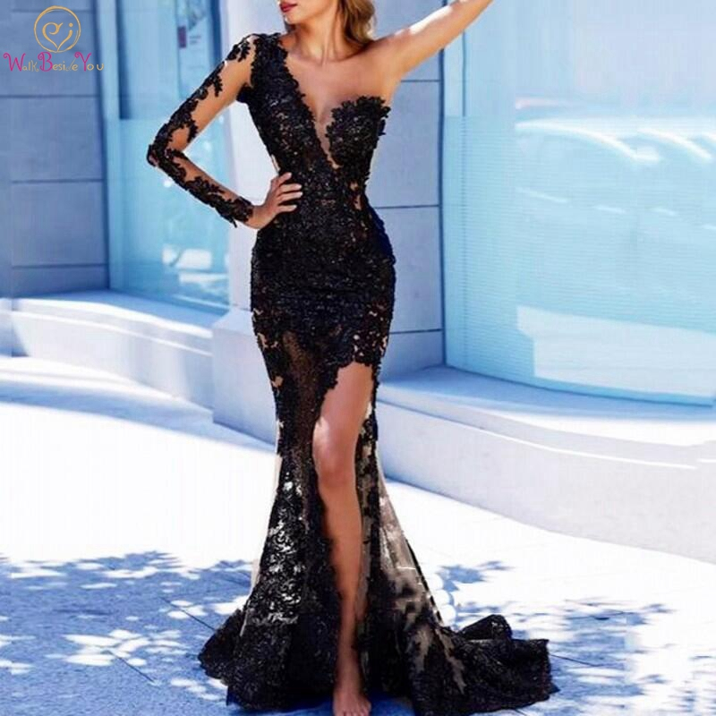One Shoulder   Evening     Dress   Tulle With Appliques Black Sweep Train Mermaid Full Sleeves Scoop Neck Sexy Split Front Prom Gown