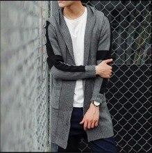 NEW autumn Hooded medium-long Mixed colors sweater cardigan slim coat man Cardigan computer Knitted hombre Knitwear sweater coat