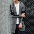 NUEVO otoño Con Capucha medio-largo Mezclado colores equipo de Punto hombre sweater cardigan delgado hombre abrigo chaqueta de Punto Prendas de Punto suéter de la capa