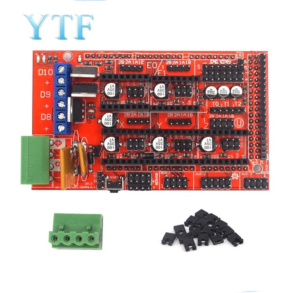 1 шт., панель RAMPS 1,4, материнская плата, детали для 3D принтеров, щит, красный, черный элементы управления