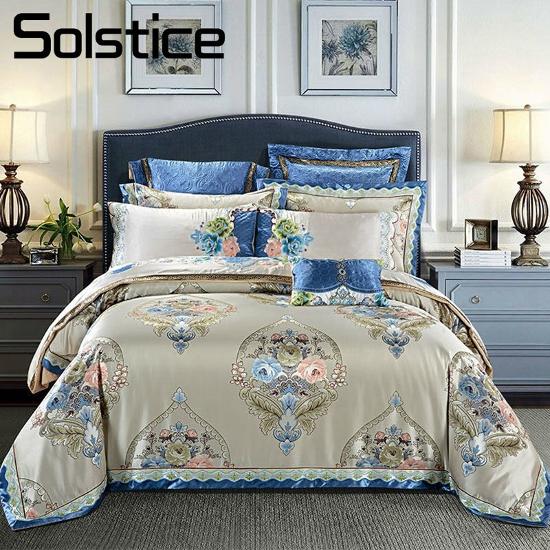 Solstice Home Textile Jacquard Cotton Europe Style Bedding Sets 4/5pcs Duvet Cover Pillowcase BedSheet Bedlinen King Queen Size
