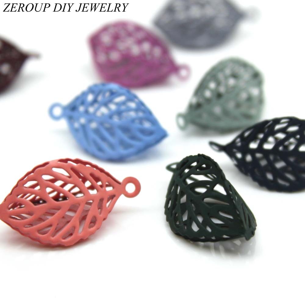 ZEROUP Leaves Shape Hollow Charms Earring Accessories Diy Jewlery Making Eardrop Pendant Necklace Components 11 Colors 10pcs ...