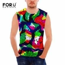 FORUDESIGNS 3D Creative Watercolor Pattern Vests Men Tank Top Man Clothing Tops Sexy Sleeveless Bodybuilding Undershirt Hombre