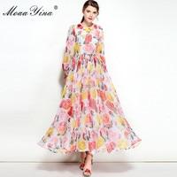 MoaaYina Designer Runway Dress Spring Women Long sleeves Rose Applique Floral Print Casual Holiday Beach Bohemia Elegant Dress