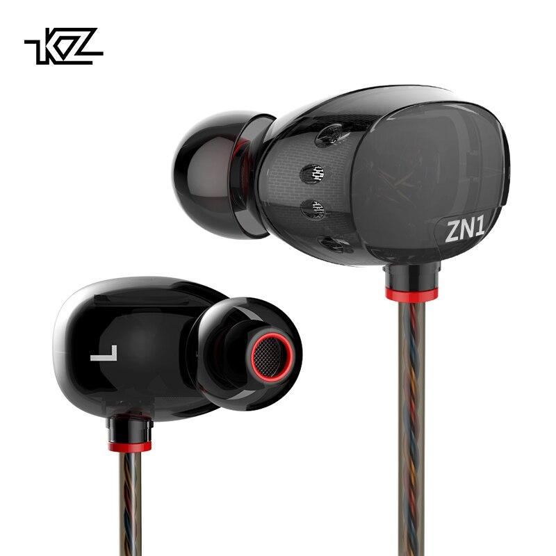 KZ ZN1 especial auriculares Dual conductor en la oreja los auriculares de alta fidelidad de cancelación del ruido auriculares estéreo con micrófono auriculares para juegos