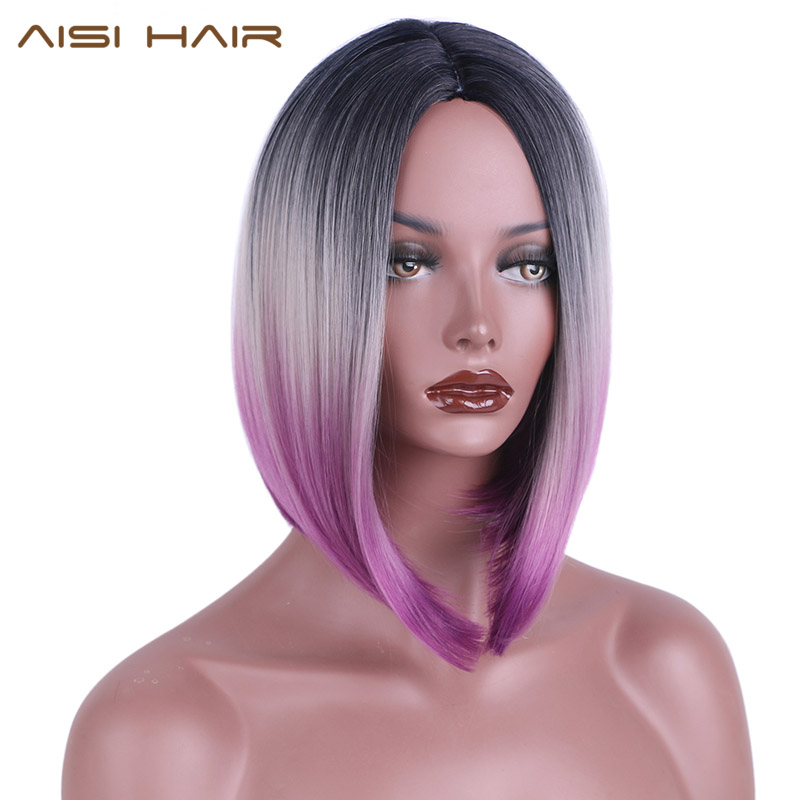 AISI HAIR Short Ombre Wigs for Black Women Synthetic Straight Hair Bob Hairstyle