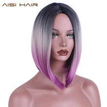 Aisi волосы короткие Ombre парики для черные женские Синтетические прямые волосы Боб Прическа