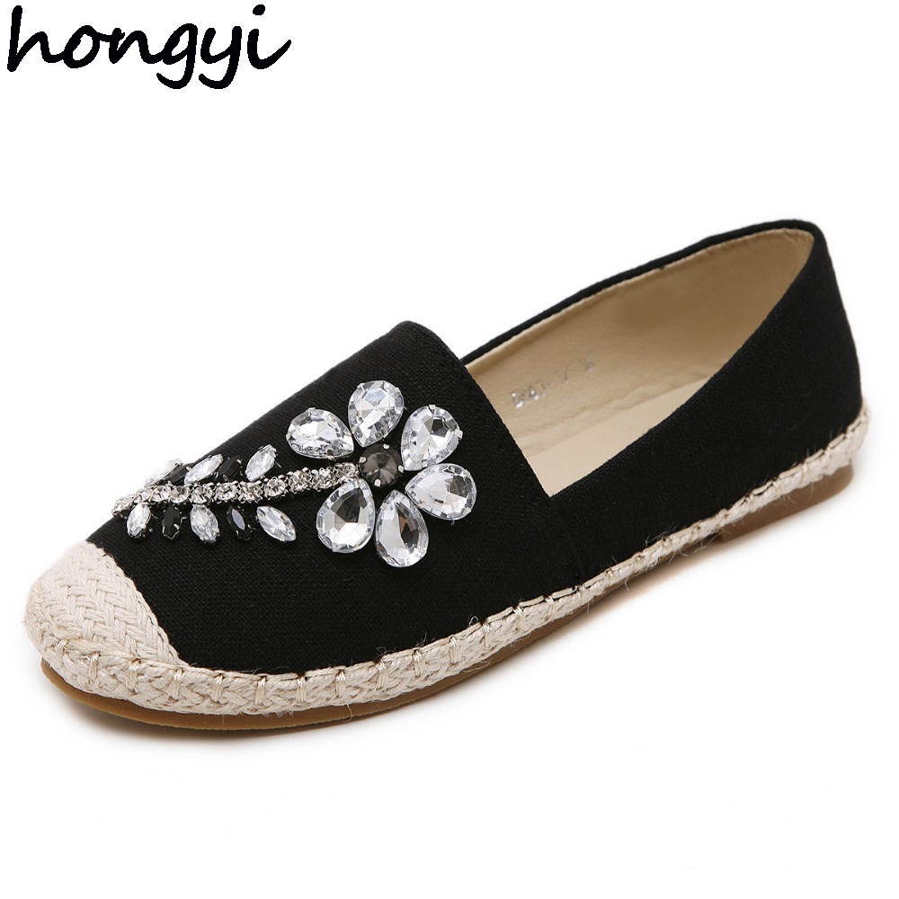 hongyi Spring Summer Women Casual Flat Shoes Flower Rhinestone Oxford Loafers Cane Hemp Straw Fisherman Shoes Espadrilles 35-40 women and men s casual flat shoes loafers fisherman espadrilles boat shoes men lazy hemp rope weave shoes size 35 45